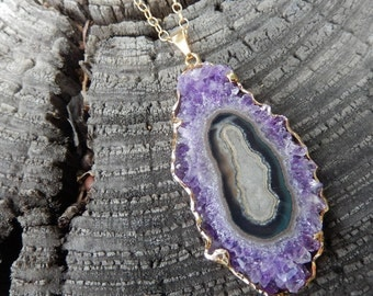 Large Amethyst Stalactite Slice Necklace 24K Gold Rock Agate Crystal Purple Pendant - Free Shipping Jewelry