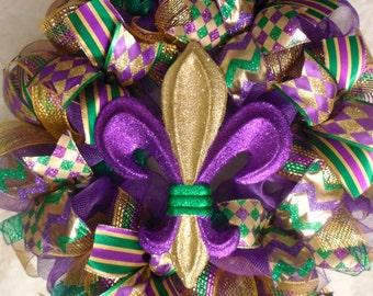 Mardi gras wreath, Mardi gras Wreaths, Mardi gras, Fleur de lis wreath, Fleur de lis wreaths, fleur de lis, tri colored