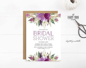 Purple Plum Floral and Gold Bridal Shower Invitation , Printable Floral Bridal Shower Invitation , Bridal Shower Invite