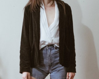 Vintage bohemian faux suede embroidered blazer