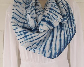 Hand-dyed habotai silk scarf, 14 x 70 inches, indigo, arashi shibori