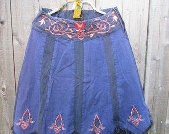 Vintage Skirt Boho Skirt Bohemian Skirt Gypsy Skirt Embroidered Skirt Etnic Fringes Blue Free People Style Festival Clothing Size L Large