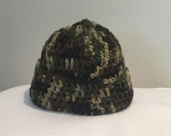 Crocheted camouflage vest and hat for toddler