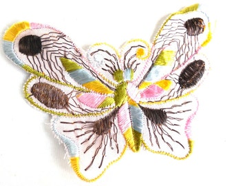 Butterfly Patch, 1930s vintage embroidered applique. Vintage patch, sewing supply. Applique, Crazy quilt. #649GC8K1