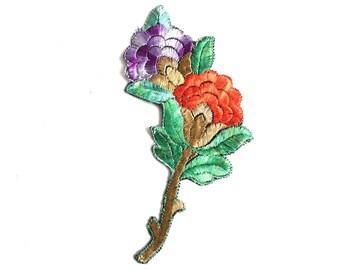 Applique, flower applique, 1930s vintage embroidered applique. Vintage floral patch, sewing supply. #64AGC8K2C
