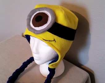 Male Minion One Eyed Children and Adults Fleece Winter Hat/ Great Halloween Hat
