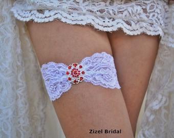 Red Garter, Wedding Garter, White Garter Set, White Lace Garter, Bridal Garter, Red Garter Set, Rhinestone Garter, Handmade Garter, Bridal