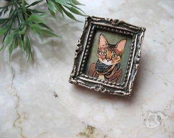 Cat brooch, fluffy cat brooch, polymer clay kitten brooch