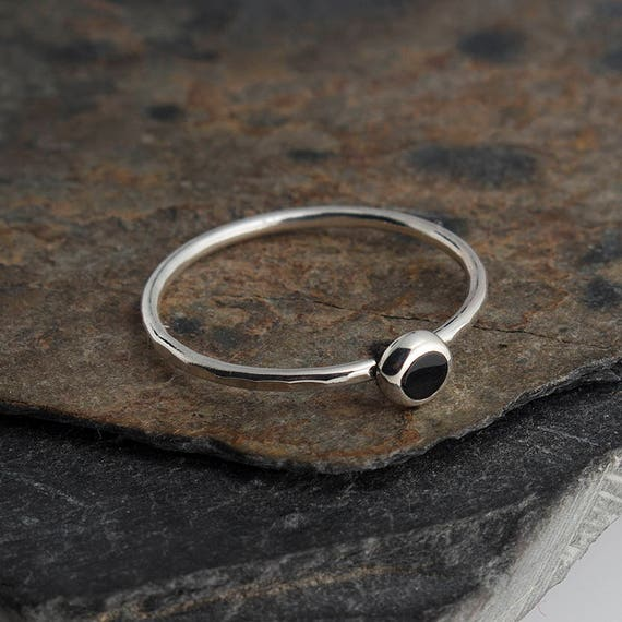 Black Spinel Stackable Rings