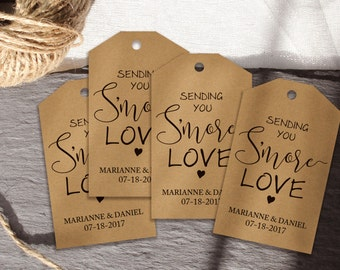 S'more love tags, Wedding favor tag, S'more Love Tags, S'More Wedding Favour Tags, Wedding favor tags, Smore wedding tags for guest favors.