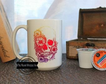 Sugar Skull Mug, Mexican Skull, Day of the Dead Mug, Coffee Mug, Skull Mug, Dia De Los Muertos, Skeleton Mug, Floral Skull Mug, Travel Mug