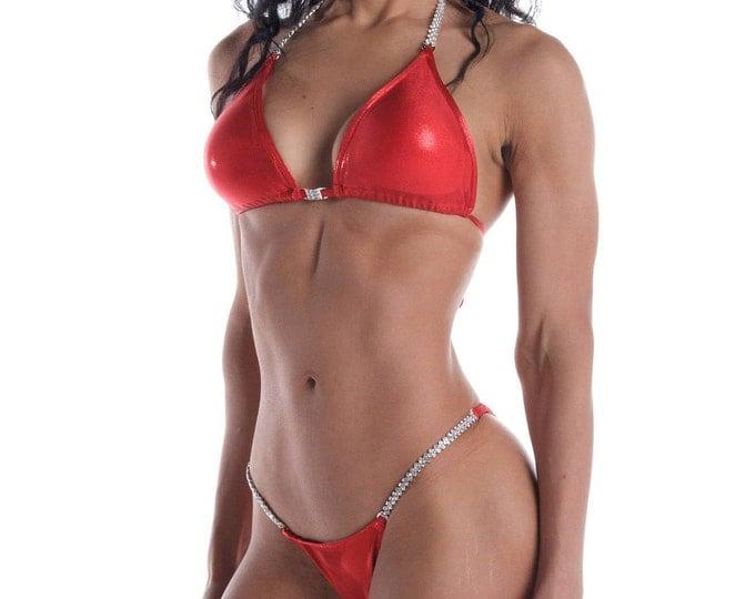 Drop Dead Red Competition Bikini  NPC, IFBB, WBFF Bodybuilding Posing Suit