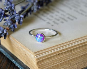 Dark Purple Blue Opal Ring 925 - Stacking Ring - Inspiration & Creativity - Fire Opal - Alternative Engagement - October Birthstone
