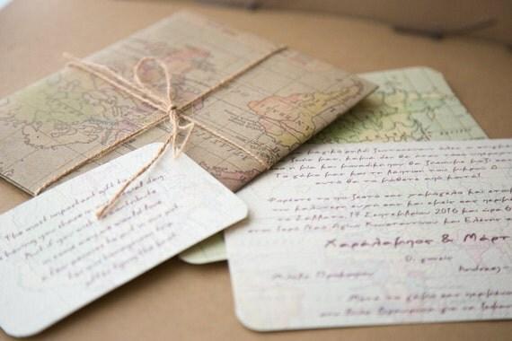 welt karte hochzeit einladung reisen hochzeit einladung, Einladung