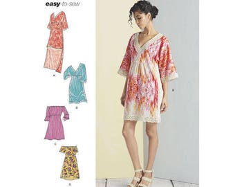 Sewing Pattern for Misses Summer Dresses, Simplicity Pattern 8332,  V-Neck, Off the Shoulder Dress, 2017 New Pattern, Easy Sew Pattern