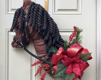 Chose your dec/flowers-Equestrian Horse Head Door Decor-Horse Wreath-Stable Decor