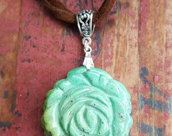 Genuine Carved Turquoise Flower Gemstone and Sterling Silver Pendant, Carved Turquoise Pendant, Carved Turquoise Flower Drop, Turquoise