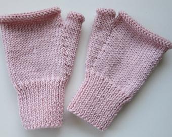 Cashmere merino silk hand knitted fingerless mitts - size S