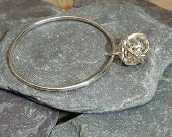 Statement Bangle, Sterling Silver Knot Bangle, Infinity Knot Bangle, Twisted Knot Bangle, Contemporary Silver Charm Bangle,925 Silver Bangle