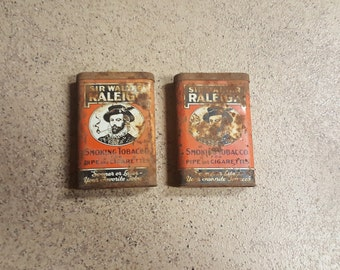 2 Vintage Sir Walter Raleigh Tabacco Tin Cans, primitive cans, collector cans, collector tabacco, rusted cans, storage cans, retro cans