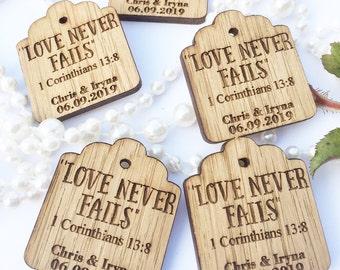 Wedding Favours, Christian Wedding Favours,  Love Never Fails, 1 Corinthians 13, Bible Favours, Wedding Favor, 23TD