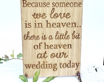Because someone, wedding sign, memorial sign, wedding plaque, heaven wedding sign, wedding memorial, rustic sign, rustic wedding, 11WS