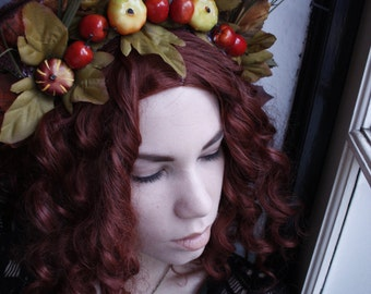 Autumn decay fall leaves flower crown headpiece
