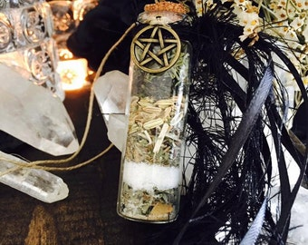 Witch Bottle SAFE TRAVEL Car Charm - Herbal Amulet Talisman - Pagan Wiccan Witchcraft - Herbs Crystals Resins