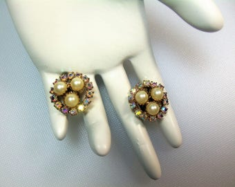 VIntage Gold Tone Prong Set Aurora Borealis Rhinestone and Faux Pearl Round Cluster Clip Earrings
