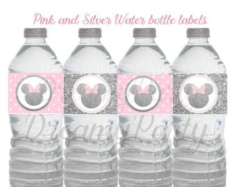 Minnie Mouse Water bottle labels, Minnie Mouse pink and silver water labels, Minnie Mouse pink and silver water bottle labels, Digital File.