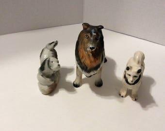 dog figurines, collection of dog figurines, collie figurine