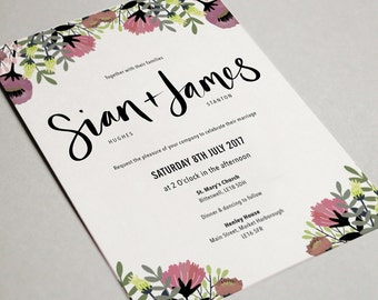 Floral Bold Wedding Invite/RSVP set
