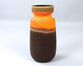 Vintage Scheurich vase ceramic 242-22, flower vase, West Germany, orange brown, 70s