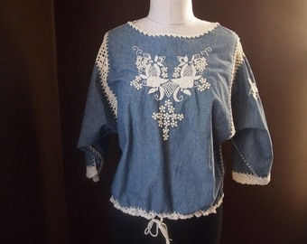 Vintage J.M.PINK BOHO CHIC Chambray Top Gorgeous Embroidery/Crochet Coachella Worthy
