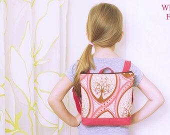Personalized Toddler Backpack, Preschool Backpack, Girls Backpack, Baby Backpack floral pattern, Girl Summer Backpack, Brown Pink, Book Bag