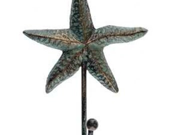 Aqua and Bronze Cast Iron Starfish Hook- Nautical, Coastal decor, Aqua, Bronze, Vintage Patina,
