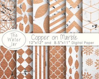 Copper on White Marble digital paper pack, Marble and Copper Digital Wallpaper, Copper Textures on a white marble background