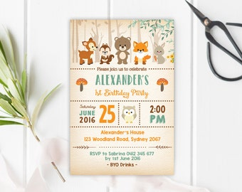 WOODLAND Birthday Invitation. Digital Custom Forest Birthday Invite. First Birthday or All Ages. Woodland Animals. Rustic. Retro. WOOD1