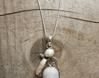 Moonstone and river pearl 925 silver pendant necklace.