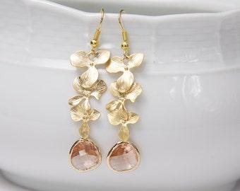 Orchid earrings. Gold Cascade Earrings. Gold Flower Earrings. Peach Earrings. Champagne Earrings.