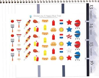 Happy Patriotic Red White Blue BBQ Stickers Erin Condren Life Planner ECLP Mambi Personal A5 Plum Spade Kikkik Kawaii Cute Funny 4th July