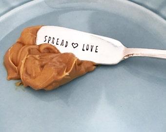 Spread Love Knife, Butter Spreader, Jam, Peanut Butter Knife, Butter Knife, Hand Stamped Spreader, Sweet Mint, Gift, Present, Vintage Knife