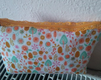 Orange Ferns make up bag