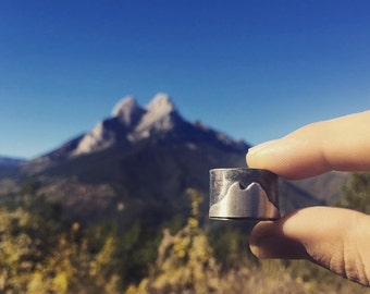 Pedraforca mountain, silver ring with Pedraforca silhouette. Magic mountain ring. Pedraforca mountain Ring oxidized silver