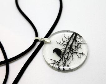 Raven necklace, gothic necklace, crow pendant, crow necklace, goth crow, crow art, goth necklace