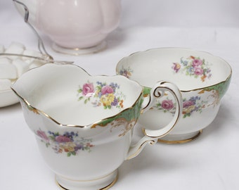 """Paragon Queen Mary """" Rockingham"""" Jug and bowl very collectable, with green and golden embellishments"""