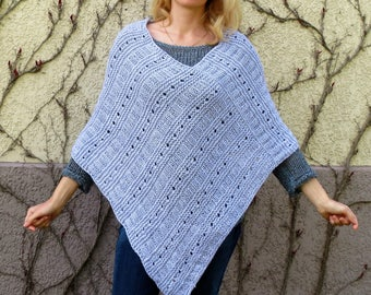 Wool poncho knit poncho cover up boho poncho crochet poncho plus size poncho womens cape poncho gray poncho chunky poncho pregnancy gift
