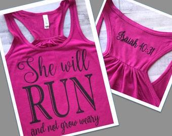 She Will Run Tank, Spiritual Tank, Workout Tank, Inspirational Tank, Statement Tee, Racerback Tank, Bella Tank, Glitter Tank, Runner Gift