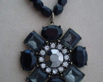 Avon Vintage Faux Black Amethyst and Rhinestone Necklace