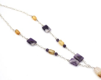 Amethyst necklace, 925 sterling silver, necklace with natural stones, citrine, Amethyst, elegance, chic